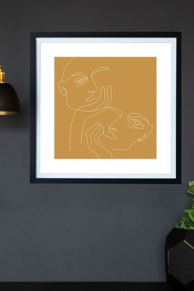Lifestyle image of the Gold Lovers Art Print hanging on a wall framed