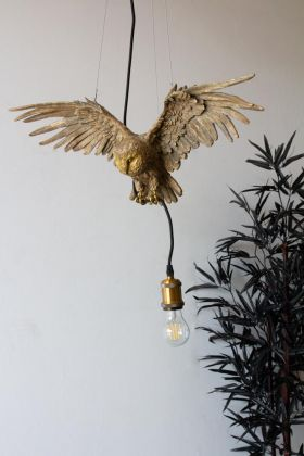 Lifestyle image of the Gold Owl Pendant Ceiling Light