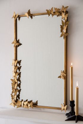 Image of the Gold Rectangular Butterfly Mirror