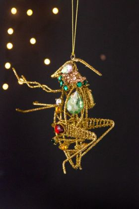 Image of the Gold Rhinestone Decorative Grasshopper