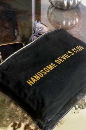 Close-up image of the Black Cotton Handsome Devils Club Pouch Wash Bag