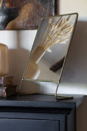 Image of the Gold Wire Frame Table-Top Mirror