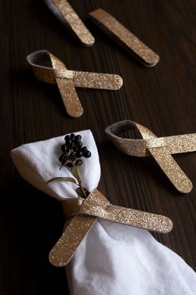 Set Of 5 Gold Glitter Napkin Ring Holders