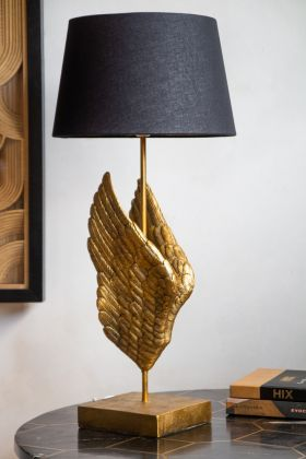 Right facing image of the Golden Angel Wings Table Lamp With Lamp Shade