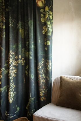 Lifestyle image of the Grape Vine Velvet Curtain Panel