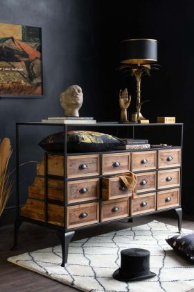 Lifestyle image of the front of the Haberdashery 12 Drawer Shop Counter With Glass Top