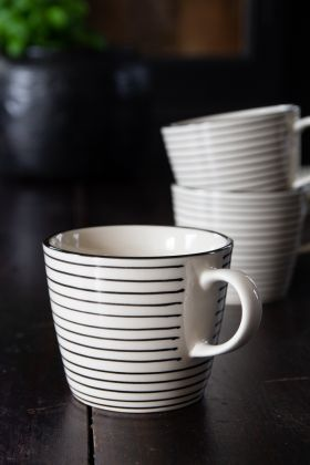 Image of the Hand-Painted Striped Coffee Mug