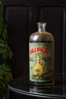Image of the Handpainted Huile d'Olive Glass Bottle