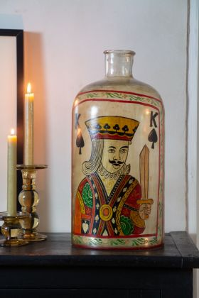 Handpainted King Of Spades Glass Bottle