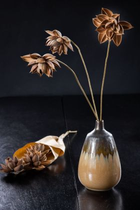 Image of the Hazelnut Faux Dahlia Flowers Wrapped In Paper and in a vase