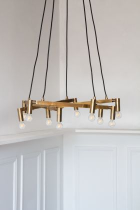 Industrial 10-Lamp Suspended Chandelier Light