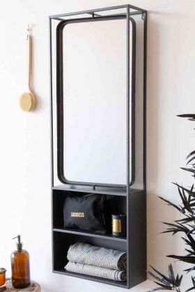 Lifestyle image of the Industrial Style Metal Bathroom Mirror With Shelves with the mirror straight
