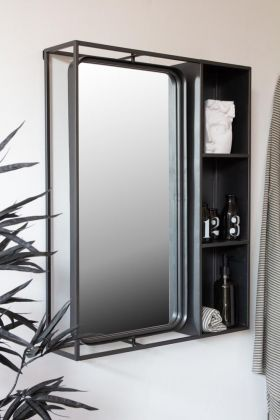Lifestyle image of the Industrial Style Metal Bathroom Mirror With Side Shelving Unit with the mirror straight
