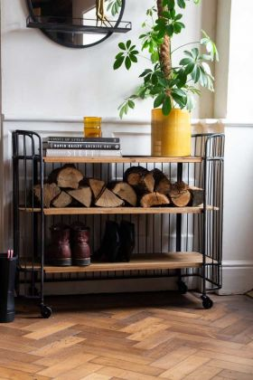 Front on lifestyle image of the Metal & Wood Industrial Style Shelf Storage on Castors