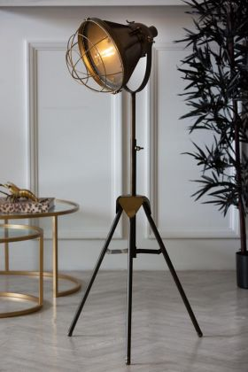 Image of the Industrial-Style Battery Powered Tripod Floor Lamp