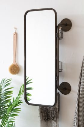 Image of the front of the Industrial Wall Mounted Bathroom Mirror With Storage