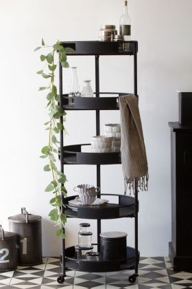 Lifestyle image of the Iron 5-Tier Shelving Unit On Wheels