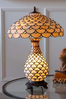 Image of the Jewelled Cream Art Deco Tiffany-Style Lamp switched on