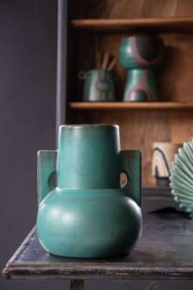 Lifestyle image of the Large Ocean Blue Green Stylish Urn Vase