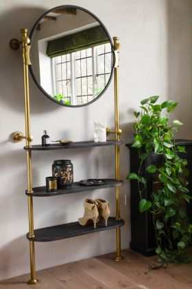 Lifestyle image of the Large Wall Mounted Mirror & Shelving Unit