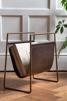 Lifestyle image of the Leather Magazine Rack