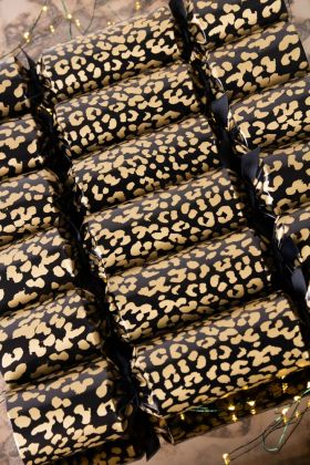 Image of the Rockett St George Leopard Christmas Crackers in a row