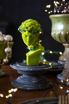 Lime Green Flocked Ancient Goddess Bust