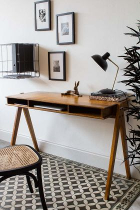 Lifestyle image of the Mango Wood Desk With 3 Open Shelves