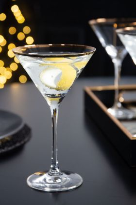 Lifestyle image of the Martini Glass With Gold Rim