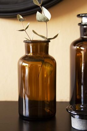 Lifestyle image of the Apothecary Style Brown Storage Bottle - Medium with eucalyptus inside on black surface with other bottles in background and round mirror on pale wall background