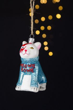 Image of the Meowie Bowie Cat Christmas Tree Decoration