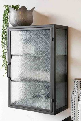 Lifestyle image of the Industrial Style Metal Bathroom Cabinet With Patterned Glass Door