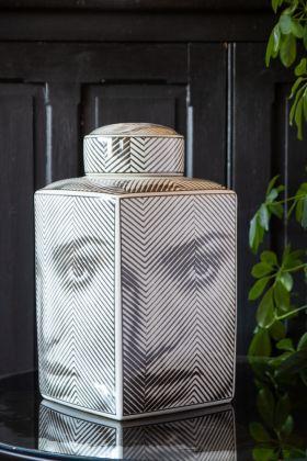 Image of the Monochrome Face Storage Jar