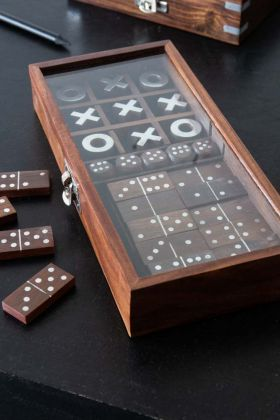 Multi Game Set In Wooden Box: Dominoes, Noughts & Crosses & Dice