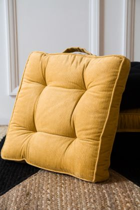 Lifestyle image of the Mustard Gold Corduroy Square Seat Pad Cushion