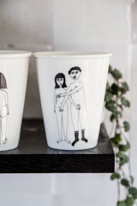 Image of the Naked Couple Modesty Handleless Mug / Cup