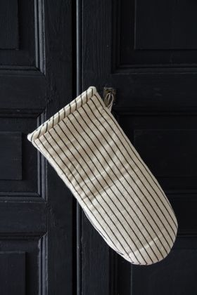 Image of the Natural Single Oven Glove With Black Stripes