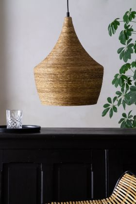 Lifestyle image of the Natural Texture with Gold Interior Ceiling Light - Bell Design