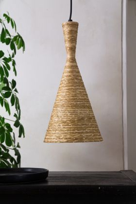 Lifestyle image of the Natural Texture with Gold Interior Ceiling Light - Cone Design