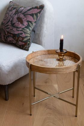 Lifestyle image of the Natural Wooden Rattan Side Table
