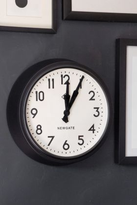 Newgate Retro Mid-Century Black Station Electric Wall Clock - White Face