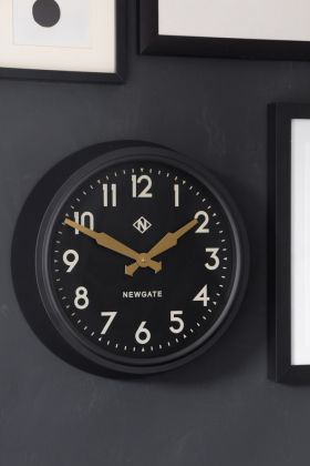 Image of the Newgate Retro Mid-Century Black Station Electric Wall Clock