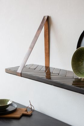 Image of the Parquet Design Hanging Shelf - Dark Olive