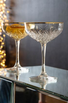 Lifestyle image of 2 of the Pikes at Rockett St George Champagne Cocktail Glasses