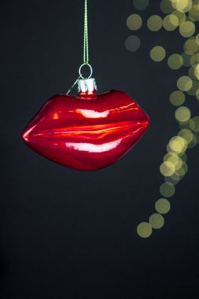 Image of the Red Lips Christmas Tree Decoration
