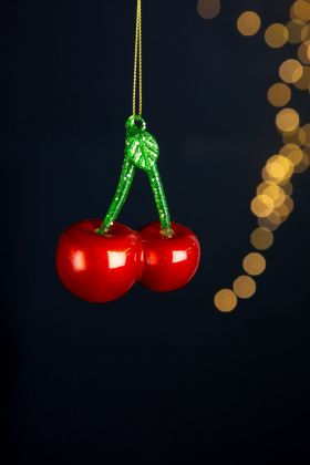 Image of the Red Pearl Cherry Christmas Tree Decoration