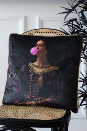 Lifestyle image of the Regal Bubble Gum Velvet Cushion