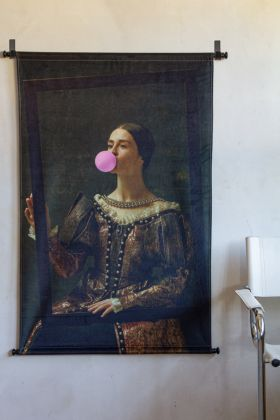 Lifestyle image of the Regal Bubble Gum Velvet Wall Hanging