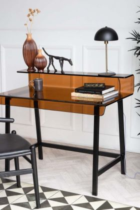 Lifestyle image of the Retro Amber Glass Desk