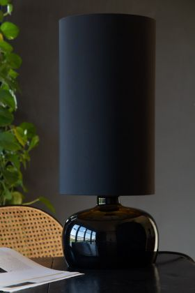 Lifestyle image of the Retro Seventies Black Table Lamp With Shade